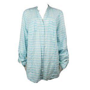 LANE BRYANT Blue White Button Down Shirt 22/24